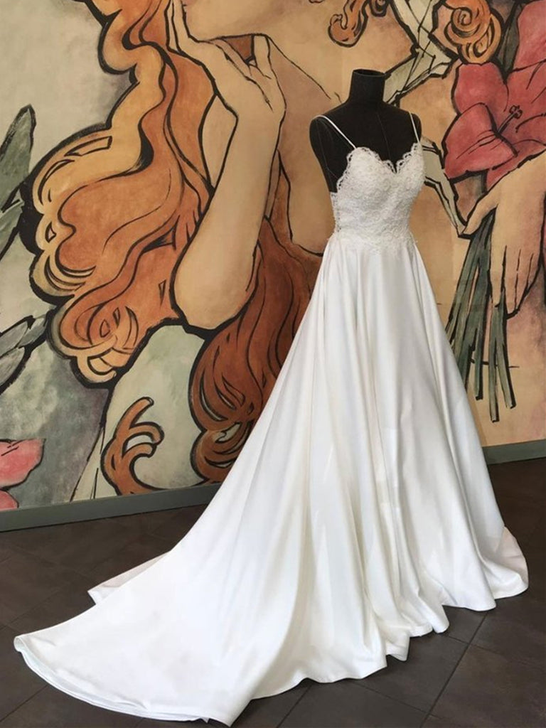 A-line Spaghetti Straps Ivory Satin Wedding Dress With Lace Appliques