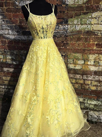 Custom Made Backless Yellow Lace Floral Long Prom Dresses, Open Back Yellow Lace Formal Graduation Evening Homecoming Dresses