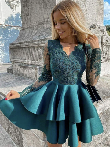 V Neck Long Sleeves Green Lace Short Prom Dresses, Short Green Lace Formal Evening Homecoming Dresses