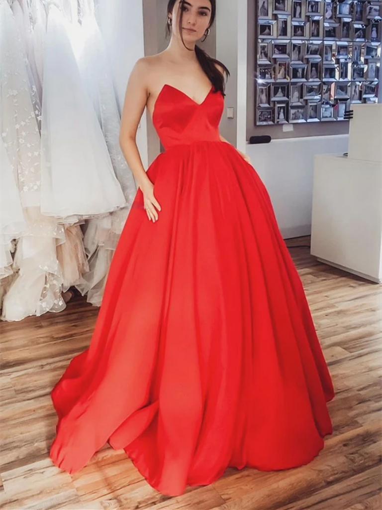 Simple Red Satin Long Prom Dresses, Simple Red Satin Long Formal Evening Dresses