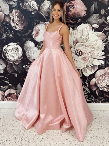 Simple Pink Satin Long Backless Prom Dressses, Simple Pink Satin Long Open Back Formal Evening Dresses