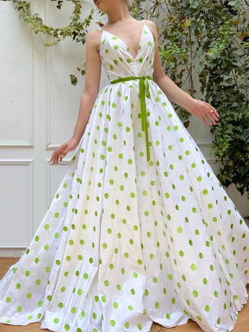 A Line V Neck Green Dot Long Prom Dresses, Green Dot Long Formal Evening Dresses