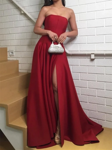 Strapless Satin Dark Red Prom Dresses with Slit Side, Red Satin Long Formal Evening Dresses