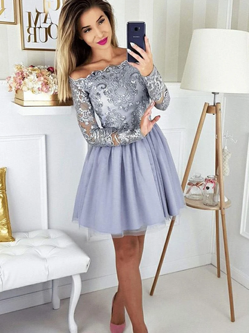 Gray Lace Long Sleeves Short Prom Dresses, Short Gray Lace Formal Graduation Homecoming Dresses