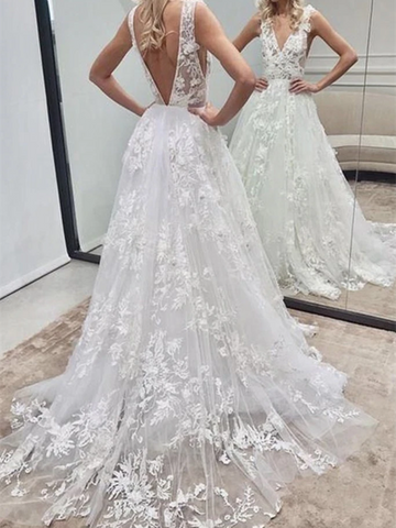 V Neck and V Back White Lace Long Wedding Dresses,  White Lace Long Prom Dresses, White Lace Formal Evening Dresses