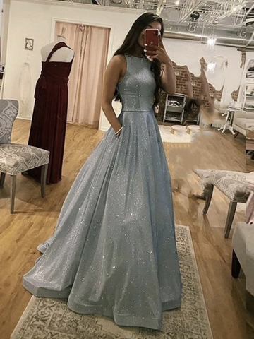 Sparkly Round Neck Silver Grey Long Prom Dresses, Silver Gray Round Neck Long Formal Evening Dresses