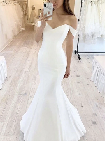 Simple White Mermaid Off Shoulder Prom Dresses, Off The Shoulder Mermaid White Formal Evening Dresses