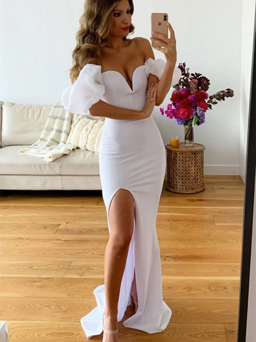Simple Off Shoulder White Mermaid Long Satin Pron Dresses, Mermaid White Formal Evening Dresses With Leg Slit