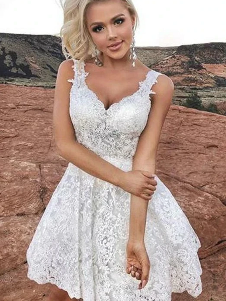 A Line Sweetheart Neck Cute White Lace Short Prom Dresses, Short White Lace Formal Evening Homecoming Dresses