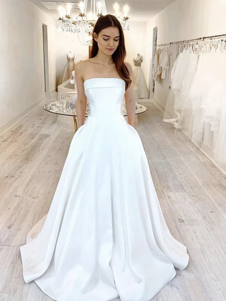 A Line Strapless White Satin Long Prom Dresses, Long Satin White Strapless Formal Evening Dresses
