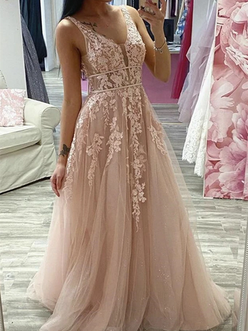 A Line V Neck Pink Lace Long Prom Dresses, Pink Lace Formal Dresses, Pink Evening Dresses