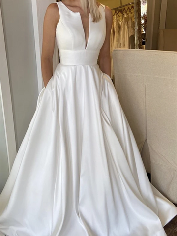 A Line White Satin Long Prom Dresses, A Line White Satin Long Formal Evening Dresses