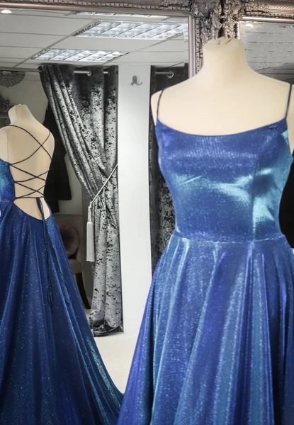 Simple A Line Blue Backless Long Prom Dresses, Open Back Blue Long Formal Evening Dresses