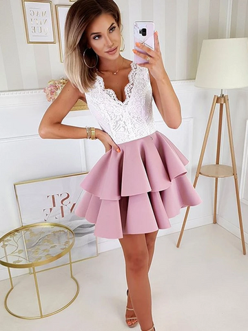 A Line V Neck Short  Prom Dresses with White Lace, Short Lace Formal Evening Homecoming Dresses