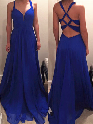 A Line Royal Blue Long Chiffon Prom Dress with Special Back, Royal Blue Bridesmaid Dress, Formal Dress