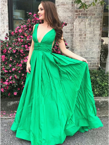 Sexy A Line V Neck Green Long Prom Dresses with Pleats, Green V Neck Formal Evening Party Dresses