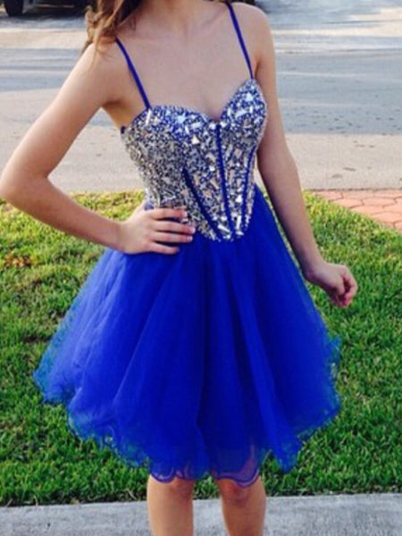 Sweetheart Neck Short Blue Prom Dresses, Short Graduation Dresses, Blue Homecoming Dresses