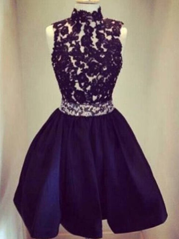Custom Made Round Neck Backless Black Short Lace Prom Dresses, Short Lace Graduation Dresses, Homecoming Dresses
