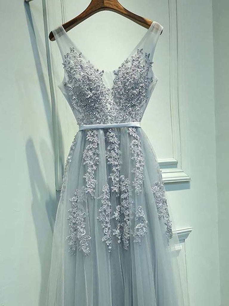 A Line Round Neck Sleeveless Grey Lace Prom Dresses Lace Bridesmaid Dresses Formal Dresses