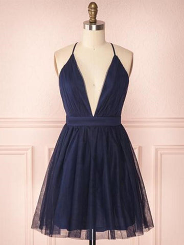 Deep V Neck Navy Blue Short Prom Dresses, Navy Blue Short Graduation Homecoming Dresses