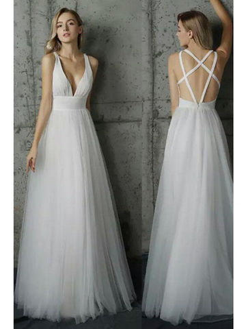 White V Neck Sleeveless Wedding Dresses, White Prom Dresses