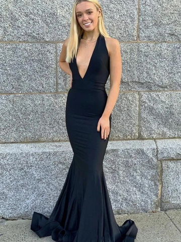 Halter V Neck Backless Mermaid Black Long Prom Dresses, Open Back Mermaid Black Formal Graduation Evening Dresses