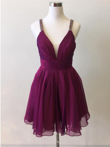 Spaghetti Strap V Neck Purple Prom Dresses,  Purple Short Chiffon Graduation Homecoming Dresses