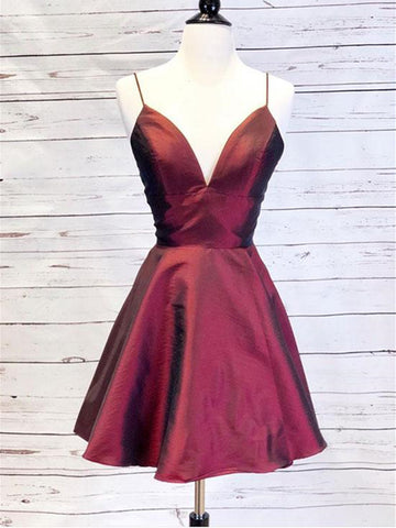 Burgundy v neck short prom dress, Burgundy short graduation homecoming dress