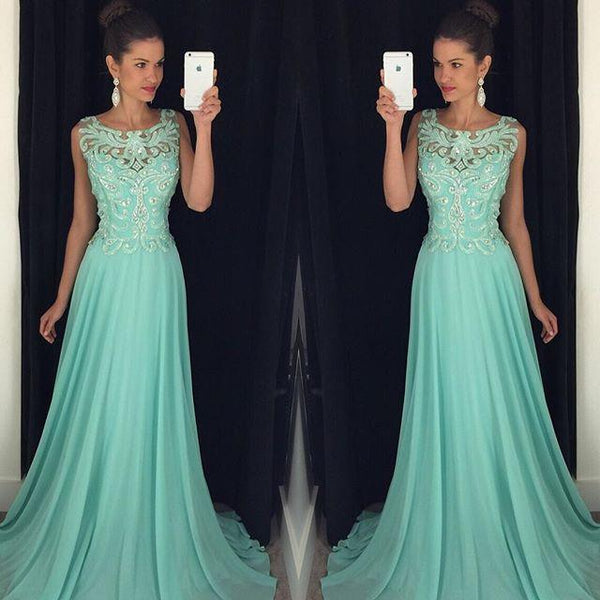 Custom Made A Line Round Neck Mint Green Backless Prom Dresses, Mint Green Backless Formal Dresses Front Details