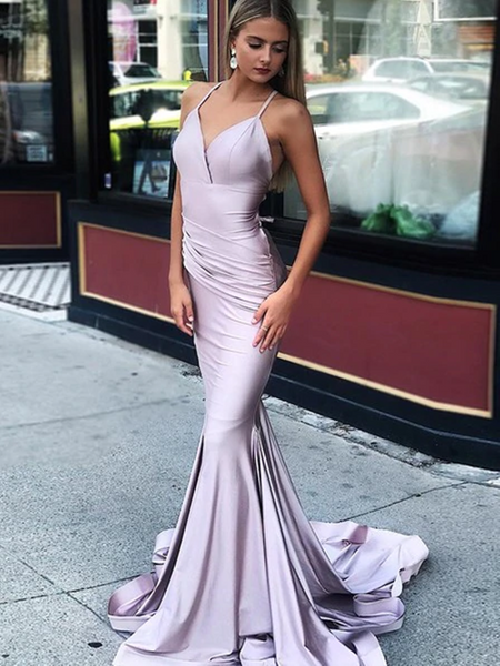 Lavender Satin Mermaid Spaghetti Straps Criss-Cross Prom Dresses, purple Mermaid Formal Dresses, Backless Lilac Mermaid Evening Desses