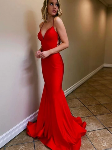 V Neck Mermaid Red Backless Satin Long Prom Dresses, Red Mermaid Open Back Formal Evening Party Dresses