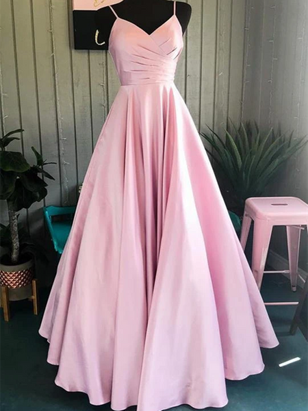 A Line Spaghetti Straps Pink Satin Long Prom Dresses, Pleated V Neck Pink Formal Evening Party Dresses