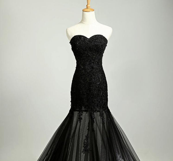 Custom Made Sweetheart Neck Mermaid Black Lace Prom Dresses with Sweep Train, Black Lace Formal Dresses Details