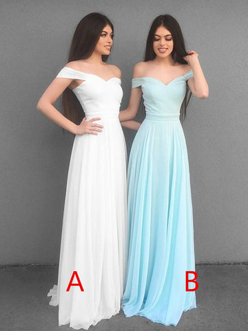 A Line Off Shoulder White/Blue Long Bridesmaid Dresses, Off Shoulder Long Prom Dresses, Graduation/Homecoming Dresses