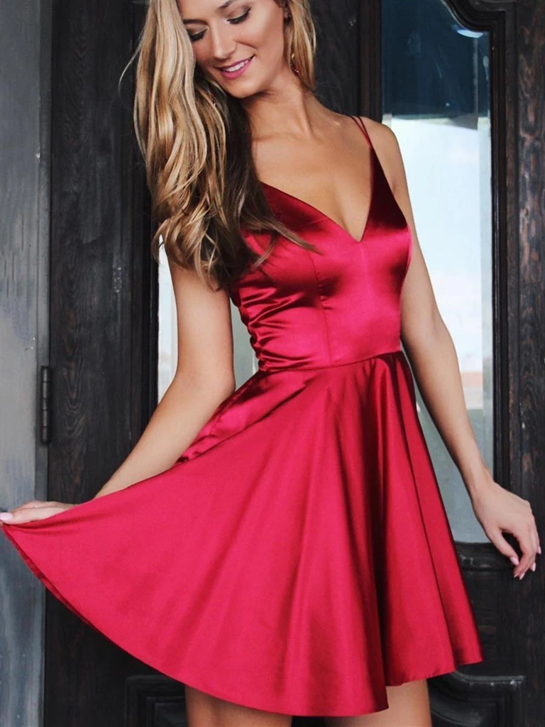 A Line V Neck Short Burgundy Prom Dresses, Short Wine Red Formal Graduation Homecoming Dresses