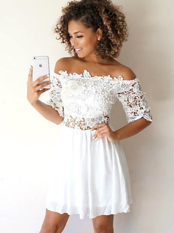 White Short Chiffon 1/2 Sleeves Lace  Homecoming Dresses, White Short Lace Prom Dresses