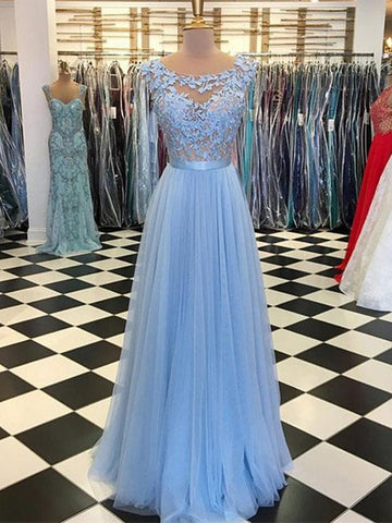 A Line Round Neck Blue Lace Appliques Tulle Long Prom Dresses, Blue Lace Graduation Evening Formal Dresses