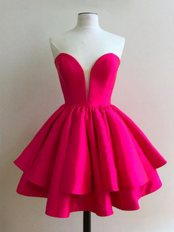 Sweetheart Neck Hot Pink Short Strapless Homecoming Dress,Cute Hot Pink Short Prom Dress