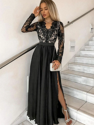 V Neck Black Lace Long Sleeves Prom Dresses with High Slit, Long Sleeves Black Lace Formal Evening Dresses