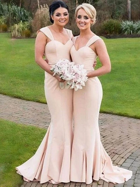 Champagne Mermaid Long Bridesmaid Dresses, Mermaid Champagne Satin Long Prom Formal Evening Dresses