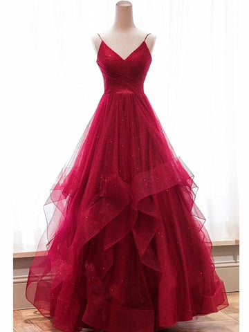 V Neck Backless Burgundy Prom Dresses, Burgundy Backless Formal Evening Dresses