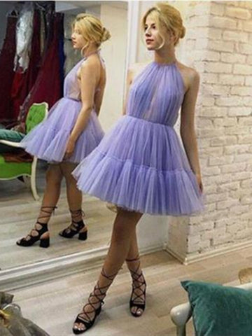 Halter Lavender A-Line Tulle Short Unique Prom Dresses, Halter Lavender  Tulle Short Graduation Homecoming Dresses