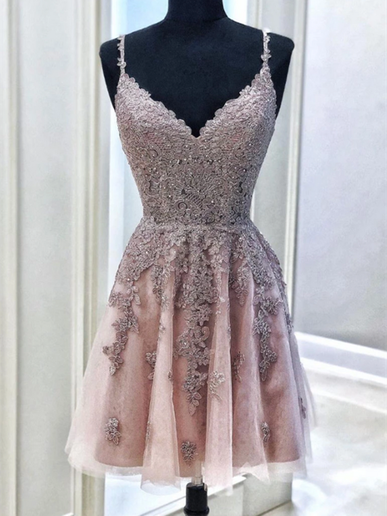 A Line V Neck Cute Tulle Lace Short Prom Dresses, Lace Short Homecoming Dresses