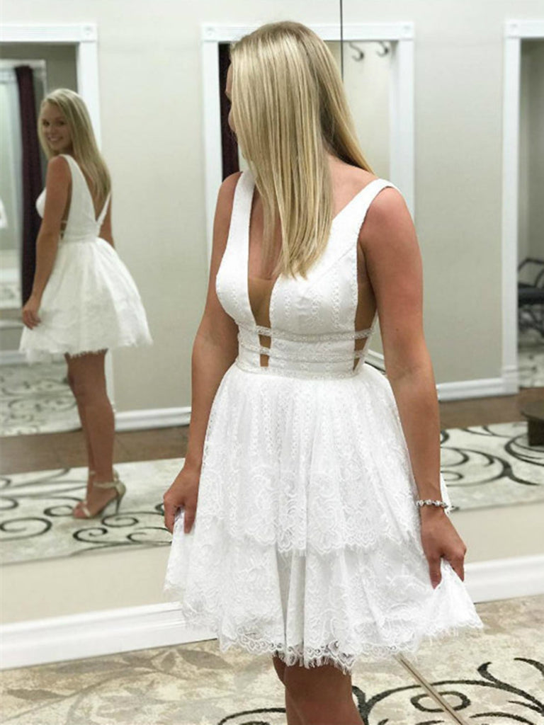 A line white short prom dresses, White short formal graduation homecoming dresses