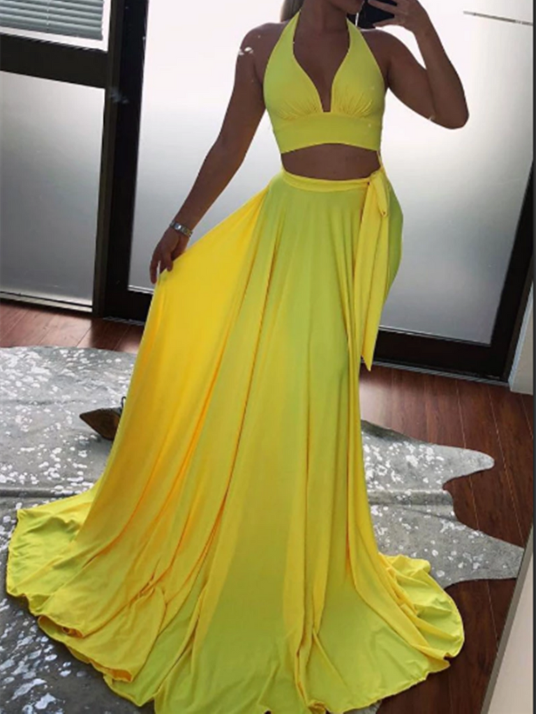 Simple Yellow Two Pieces Long Prom Dress, Yellow 2 Pieces Long Formal Evening Graduation Dress
