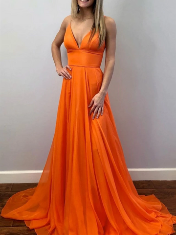 V Neck Orange Long Prom Dresses, Orange V Neck Long Formal Evening Dresses