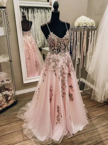 V Neck Pink Champagne Floral Lace Long Prom Dresses, Pink Champagne Lace Formal Evening Dresses