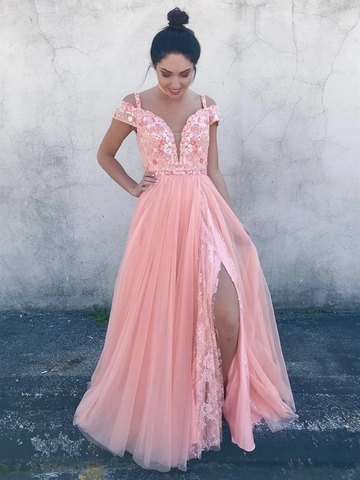 Deep V Neck Off Shoulder Pink Tulle Lace Floral Prom Dresses With Leg Slit ,  Lace Off the Shoulder Pink Formal Evening Dresses