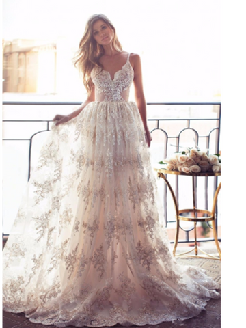 V Neck Backless Lace Ivory Wedding Dress with Champagne Appliques, Backless Lace Prom Dresses