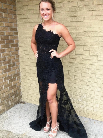 One Shoulder Black Lace Prom Dresses, One Shoulder Long Black Lace Formal Evening Dresses